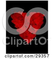 Cluster Of Textured Red Hearts In The Shape Of A Big Heart Over A Black Background