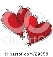 Clipart Illustration Of Two Black Sketched Hearts Filled With Red Over A White Background