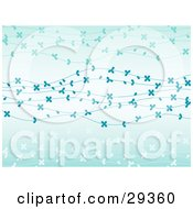 Gradient Light Blue Background With Strands Of White And Blue Flowers Spanning Across by elaineitalia