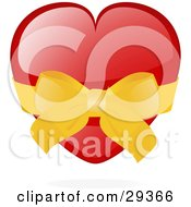 Clipart Illustration Of A Shiny Red Heart Wrapped In A Golden Bow And Ribbon by elaineitalia