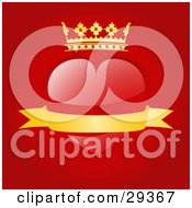 Clipart Illustration Of A Red Heart With A Crown And A Blank Gold Banner Of A Red Background