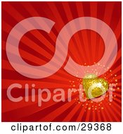 Clipart Illustration Of A Sparkling Gold Disco Heart On A Background Of Red Bursts by elaineitalia