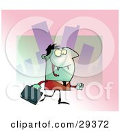 Clipart Illustration Of A Green Vampire With Fangs Dressed In A Suit And Carrying A Briefcase To An Office