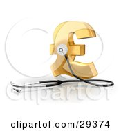 Clipart Illustration Of A Stethoscope Up Against A Golden Pound Sterling Sign Symbolizing Economy Debt And Savings by Frog974