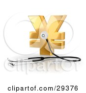 Clipart Illustration Of A Stethoscope Up Against A Golden Yen Sign Symbolizing Economy Debt And Savings