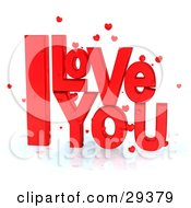 Clipart Illustration Of Bright Red I Love You Text With Little Hearts On A Reflective White Surface by Frog974