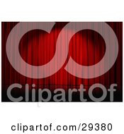 Clipart Illustration Of A Spotlight Cast On Closed Red Curtains On An Empty Stage by Frog974 #COLLC29380-0066