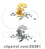 Clipart Illustration Of Gold And Silver Pound Sterling Currency Signs Crashing Down Into A White Surface With Black Cracks