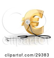 Stethoscope Up Against A Golden Euro Sign Symbolizing Economy Debt And Savings