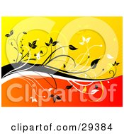Clipart Illustration Of Black And White Vines Dividing A Yellow Bursting Background From A Gradient Orange And Red Background