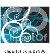 Clipart Illustration Of A Background Of White And Blue Curling Vines With Little Flowers