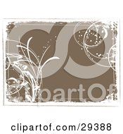 Clipart Illustration Of A Brown Background Bordered By White Grunge With Grasses In The Corners