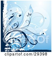 Clipart Illustration Of Blue And White Flowers And Grunge Bordering A Gradient Background
