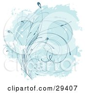 Clipart Illustration Of Curling White And Blue Grasses Over A Background Bordered By White