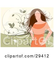 Clipart Illustration Of A Faceless Woman In An Orange Dress Standing With Her Hands On Her Hips Over A Green And White Background With Vines by KJ Pargeter
