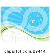 Clipart Illustration Of A White Vine Curling Above A Wave Of Blue Green And White Over A Bursting Blue Background