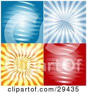 Set Of Four Blue Red And Orange Abstract Backgrounds Of Waves And Rays Of Light