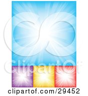 Clipart Illustration Of A Set Of Blue Purple Yellow And Red Backgrounds With White Bursting Light