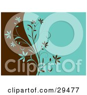 Clipart Illustration Of A Brown And Green Plant Dividing Different Colored Backgrounds