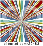 Clipart Illustration Of A Retro Background Of Bursting White Green Yellow Blue And Red Lines Emerging From The Center