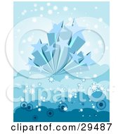 Clipart Illustration Of A Burst Of Blue Stars In A Sky Of Blue Clouds And White Bursts With Circles Along The Bottom