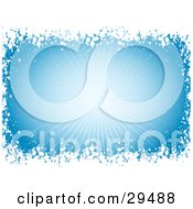 Clipart Illustration Of A Background Of A Burst Of Light On Blue Bordered By White Snow