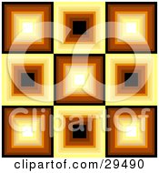 Clipart Illustration Of A Retro Square Patterned Background Of White Yellow Orange Brown And Black Squares