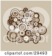 Clipart Illustration Of A Retro Background Of A Cluster Of Brown And White Circles
