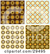 Clipart Illustration Of A Set Of Retro Wallpaper Pattern Backgrounds Of Orange Brown And Blue Circles