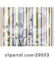 Clipart Illustration Of White And Blue Flowering Plants Over A Grungy Striped Background by KJ Pargeter
