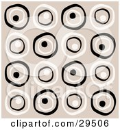 Clipart Illustration Of A Retro Background Of White And Black Circles On A Beige Background