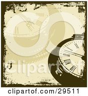 Clipart Illustration Of A Brown And Faded Pocket Watch Background Bordered By Grunge