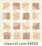 Clipart Illustration Of A Background Of Tan And Brown Squares In Rows With Scribbles