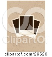 Clipart Illustration Of Three Blank Polarod Photographs Stacked On A Grunge Scratched Brown Background