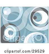 Clipart Illustration Of A Retro Background Of Gray Blue And White Circles