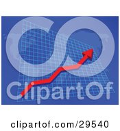 Clipart Illustration Of A Red Arrow Moving Upwards On A Graph Over International Countries