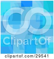 Clipart Illustration Of A Retro Patterned Background Of Transparent Blue Shapes And Squares