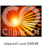 Clipart Illustration Of A Bright Burst Of Light Casting Red And Orange Rays Bordered By Black Grunge