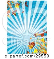 Clipart Illustration Of A Scratched Grunge Background Of Blue Rays Of Light With Autumn Foliage In The Corners