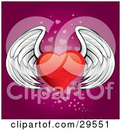 Clipart Illustration Of A Winged Red Heart Flying Over A Gradient Pink Background Of Faded Small Hearts