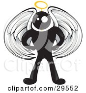 Clipart Illustration Of A Blackman Angel Character With White Wings And A Halo