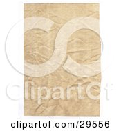 Flat Wrinkled Piece Of Blank Parchment Paper On A White Background