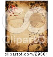 Clipart Illustration Of A Grunge Background Of Splatters And Insects Crawling On A Wall by KJ Pargeter