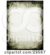 Border Of Black Grunge And Watermarks On An Off White Stationery Background