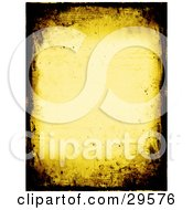 Yellow Stationery Background Bordered With Dark Brown Grunge Textures