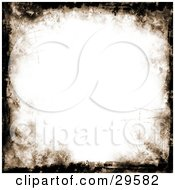 Clipart Illustration Of A White Background Bordered By Black And Brown Grunge