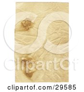 Clipart Illustration Of A Wrinkled Piece Of Blank Parchment Paper With Two Burn Marks by KJ Pargeter