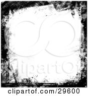 Clipart Illustration Of A White Background Bordered By Black Paint Smears And Grunge Textures