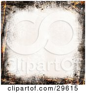Clipart Illustration Of An Off White Background Bordered By Orange And Black Dotted Grunge