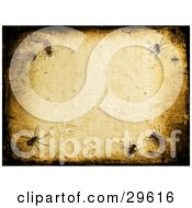 Clipart Illustration Of A Textured Background Of Insects Crawling On A Wall Bordered By Black Grunge